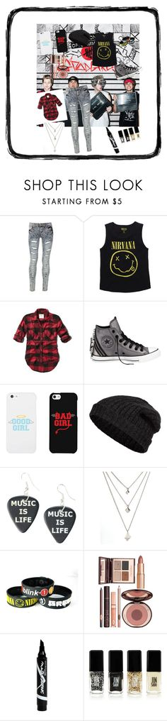 """5SOS inspired look! I love these guys!<3"" by chelle12700 ❤ liked on Polyvore featuring Blue Inc Woman, Abercrombie & Fitch, Converse, LG, Closed, Hot Topic, Charlotte Tilbury, Maybelline and JINsoon"