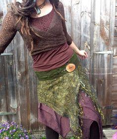 The 'Vagabond' Lagenlook Nuno Felted Pixie Skirt wi by Cocoleeko
