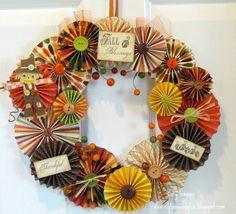 Fall Rosette Wreath - Ribbons & Glue || nice arrangement; uses Cricut