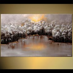Buy beautiful landscape paintings, modern landscape paintings, canvas art and contemporary artworks. Colorful paintings of forests, trees, cloudy skies and other modern art. Choose your favorite landscape painting. Landscape Prints, Landscape Art, Landscape Paintings, Winter Landscape, Watercolor Landscape, Forest Painting, Winter Painting, Painting Trees, Painting Art