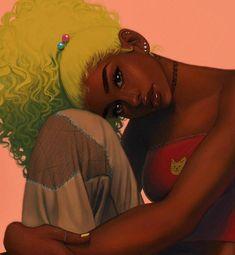 Black Girl Cartoon, Dope Cartoon Art, Black Art Painting, Black Artwork, Black Love Art, Black Girl Art, Black Girl Aesthetic, Aesthetic Art, Black Art Pictures