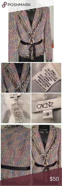 Cache Blazer Beautiful multi colored lined jacket. One hook in the front with a removable tie. Fringe all around the edges. Cache Jackets & Coats Blazers