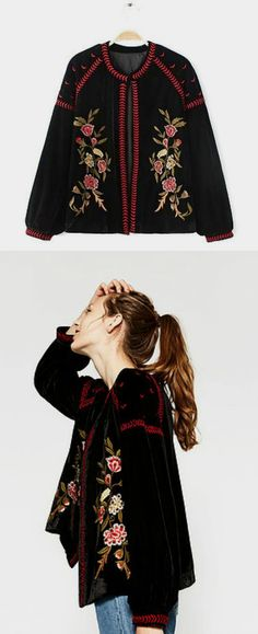$70 - Black Velvet Embroidery Jacket is now available at Pasaboho. ❤️ This Jacket exhibit brilliant colours with beautiful embroidered patterns. Get inspired by Boho Chic Fashion Style and Street Style Trends. Fashion trend and styles from hippie chic, modern vintage, gypsy style, boho chic, hmong ethnic, street style, geometric and floral outfits.  We Love boho style and embroidery stitches. Free Spirit hippie girls sharing woman outfit ideas. bohemian clothes, cute dresses and skirts.
