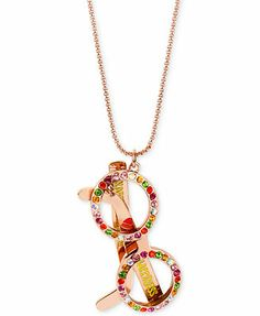 Betsey Johnson Necklace, Antique Rose-Gold-Tone Crystal Sunglasses Pendant Long Necklace