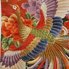 Embroidery on a kimono