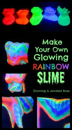 Glowing rainbow slime recipe for play. This stuff is so fun we couldn't put it down! (easy slime play recipes for kids! Make Slime At Home, How To Make Slime, Making Slime, Homemade Slime, Diy Slime, Borax Slime, Slime Craft, Glue Slime, Sand Slime