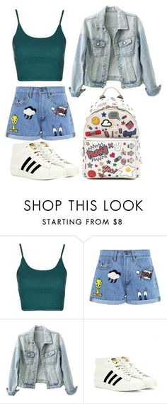 """Untitled #1208"" by rachkinou ❤ liked on Polyvore featuring Topshop, Paul & Joe Sister, adidas Originals and Anya Hindmarch"