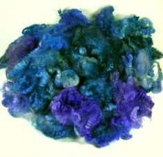 Violet Teal Coopworth Fleece for spinning and felting by yarnwench, $10.80