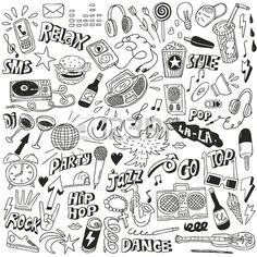 Illustration of Music - doodles collection vector art, clipart and stock vectors. Doodle Tattoo, Doodle Drawings, Easy Drawings, Doodle Art, Doodle Illustrations, Music Illustration, Doodle Music, Graffiti Doodles, Notebook Doodles
