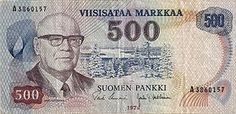 Urho Kekkonen in finish 500 marks. Nowadays we have euro in Finland.