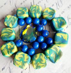 Caribbean Splash - Destash collection - polymer clay beads, swarovski crystal drop, 7mm blue mountain jade beads, supplies by UncommonCollections on Etsy https://www.etsy.com/listing/478658568/caribbean-splash-destash-collection