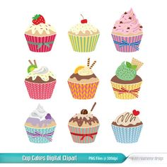 Cupcakes Digital Clipart, Vector Graphics for Commercial and Personal Use