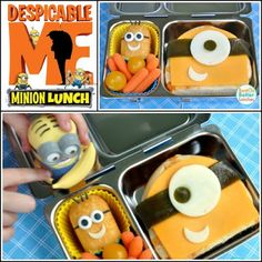 Your kids will love this Despicable Me lunch box! All you need are Twinkies, dried fruit roll ups, bagels, cheese, cherry tomatoes and baby carrots. Despicably delicious! Click on the image for further instructions.