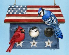 Patriotic Living an archival watercolor by TracyLizotteStudios