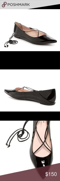 Kate Spade Genie lace up black ballet flats Delicate leather straps crisscross at the instep and lace up the ankle of this chic pointy-toe ballet flat.  Pointed toe. Wraparound tie laces. Made in Brazil. Leather upper, lining and sole. kate spade Shoes Flats & Loafers