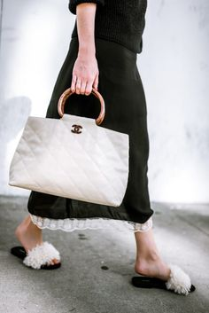 furry sandals + white chanel bag