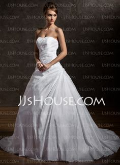 Wedding Dresses - $198.29 - Ball-Gown Sweetheart Court Train Taffeta Wedding Dress With Ruffle Lace Beadwork Sequins (002012901) http://jjshouse.com/Ball-Gown-Sweetheart-Court-Train-Taffeta-Wedding-Dress-With-Ruffle-Lace-Beadwork-Sequins-002012901-g12901