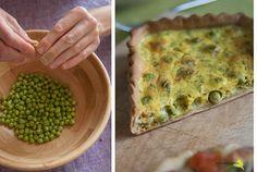 La flor del calabacín: De la huerta a la mesa: quiche ligera de guisantes y hierbabuena {tartas saladas con Ventanas Verdes}