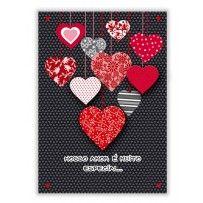 Cartão Romântico Artesanal Corações pendurados