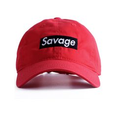 Nerdy Fresh Savage Basball cap Red/Black ($35) ❤ liked on Polyvore featuring men's fashion, men's accessories and men's hats