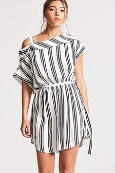 Women's Fashion Apparel Womens Off Shoulder Stripe Romper This three quarter long sleeve off shoulder romper features a stripe print and a tie Model is wearing a size Small Polyester Dry Clean Imported Style Striped Shirt Dress, Long Sleeve Shirt Dress, Short Sleeve Dresses, Dress Long, Dress Shirt, All White Romper, Rompers For Teens, Off Shoulder Romper, Hi Low Dresses