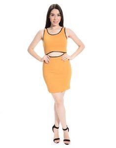 Cut Out Faux Leather Trim Mini Dress
