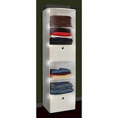 "Costco - Closet organizer WITH LED?!  Lorest   Linen 17"" LED   Closet Organizer  with 2-pack Drawers  Item # 587769  $34.99"