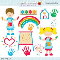 Finger Painting Cute Digital Clipart  by JWIllustrations on Etsy