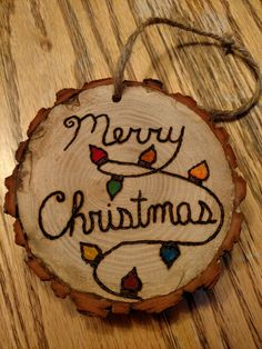 Rustic merry christmas wood burned Christmas ornament