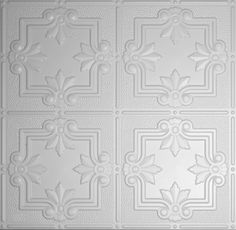 These faux tin ceiling tiles are ready to drop right into an existing grid system. Made of durable yet lightweight PVC, these sag resistant tiles also carry an acoustical value! Plastic Ceiling Tiles, Drop Ceiling Tiles, Faux Tin Ceiling Tiles, Ceiling Grid, Tin Tiles, Ceiling Panels, Arabesque, Behr Colors, Diy Carpet