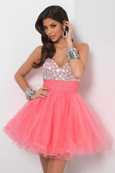 $183.99 A-line Sweetheart Crystal Tulle Short Hot Pink Homecoming Dress