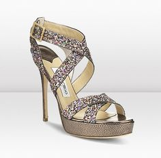 Vamp Jimmy Choo These perfect summer strappy sandals in playful multi coloured glitter fabric create the ultimate evening look These perfect summer strappy sandals in playful multi coloured glitter fabric create the ultimate evening look Dream Shoes, Crazy Shoes, Me Too Shoes, Big Shoes, Shoe Boots, Shoes Heels, High Heels, Sparkly Shoes, Glitter Shoes