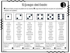 This is a fun activity that helps students practice with words. The only thing they need is a dice and paper. Can be used in centers, Work on words station, working with a bilingual pair or just as fun homework.