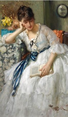 <3 this!! Reminds me of a young Princess Diana. A Quiet Moment by Fernand Toussaint (Belgian, 1873-1955). #classic #art #painting
