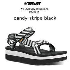 TEVA (Teva) FLATFORM UNIVERSAL SANDAL women flat form universal lady's sandals light weight, thick-soled wedge sole beach sandal, leisure, town use CANDY STRIPE BLACK, 1008844, Teva
