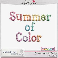 Summer of Color - Glitter Alpha from Midnight Owl Designs perfect for digital or hybrid  scrapbooking, These fun alphas can be used in lots of fun creative projects.