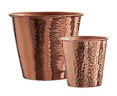 Set de 2 macetas en acero galvanizado - cobre