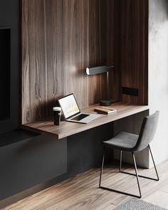 Наталия Клочко on Behance Room Design Bedroom, Modern Bedroom Design, Home Room Design, Home Office Design, Home Decor Bedroom, Home Interior Design, Room Decor, Apartment Interior, Room Interior