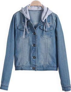 Blue Hooded Long Sleeve Crop Denim Jacket US$35.00  ORRRRR DIS?