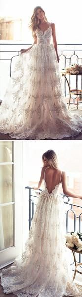 A-line Long Spaghetti V-back Sexy Lace Bridal Gown, Wedding Party Dress weding dresses