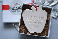 Teacher Gift - Happy Holidays Apple Ornament 2013 - Gift Boxed and Ready to Give. $22.00. This beautiful ornament would make a perfect teacher gift! #happyholidays #teachergift