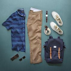 ☀️ Getting in the spring spirit. Shirt: Indigo Stripe Cotton/Linen Chinos: 484 Essential Chino Belt: Braided Belt Glasses: Legend in Brown Tortoise Bag: Bob Navy Backpack Shoes: for Watch: Glasses Case: Indigo, Mens Attire, Mens Fashion, Fashion Outfits, Fashion Edgy, Fashion Sets, Fasion, Fashion Styles, Outfit Grid