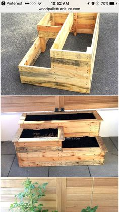 raised vegetable garden ideas and designs Outdoor Planter Boxes, Wood Pallet Planters, Garden Planter Boxes, Wooden Pallet Projects, Diy Planters, Woodworking Projects Diy, Wood Pallets, Raised Garden Bed Plans, Raised Bed