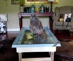 Blue & gold vintage coffee table. Not2shabby Furniture Catalogue