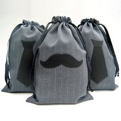 Groomsmen Gift Bags - Necktie or Mustache - an elegant, earth-friendly way to wrap gifts for your groomsmen, ushers, ring bearer, dads, and groom.