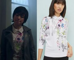 47edb16631db by Kirsty1 Comment Midge Klump (Emilija Baranac) wears this white collared  floral printed sweater