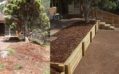 level out slope next to bottom deck, create a 3rd tier for succulent garden/lavendar level