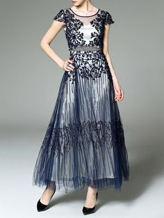 83970f9e3fd Dark blue Floral Crew Neck Short sleeve Swing Evening Embroidered Beaded  Maxi Dress Long White Maxi