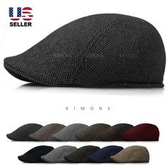 655d70b492dc0 Details about Wool Herringbone Newsboy Gatsby Cap Ivy Hat Golf Mens Flat  Cabbie Stripe