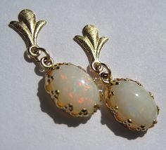 Estate Australian Opal Drop Earrings 14K Gold Victorian.  Antique jewelry, estate jewelry, retro art deco, victorian earrings, gemstone jewelry, fine jewelry.  Offered by Aawsomblei antique jewelry.